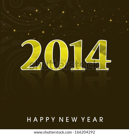 Happy New Year 2014 celebration flyer, banner, poster and invitation with shiny golden text on dark background.