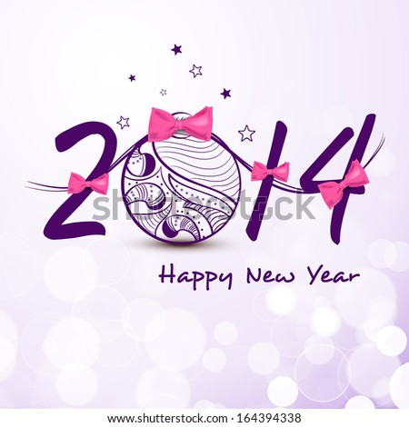Happy New Year 2014 celebration flyer, banner, poster or invitation with stylish text and floral decorated Xmas ball on purple background.  #164394338