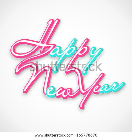 Happy New Year 2014 celebration flyer, poster, banner or invitation with glossy colorful text on grey background.