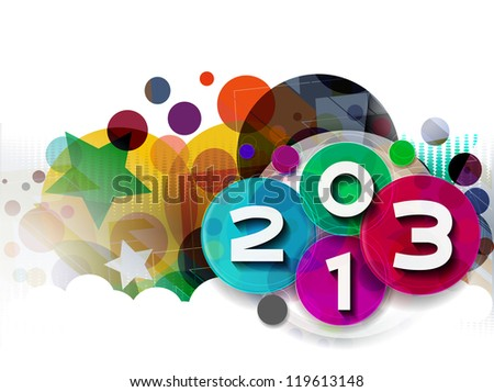 Happy new year 2013 celebration greeting card design.