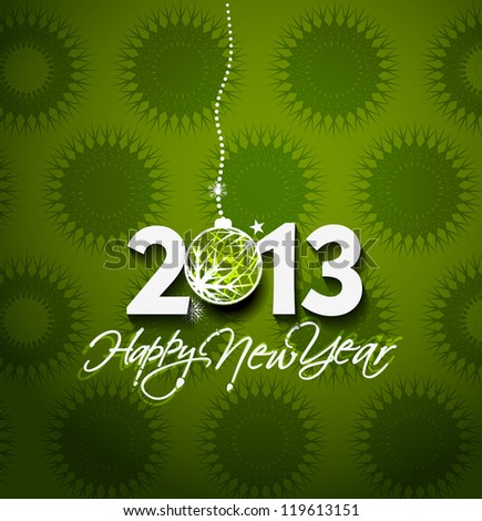 Happy new year 2013 celebration greeting card design