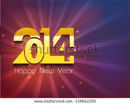 happy new year 2014 celebration party poster banner or invitations with golden stylize text 2014