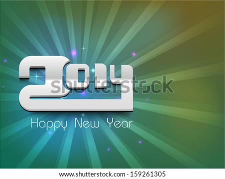 Happy New Year 2014 celebration party, poster or banner with glossy text on green rays background.