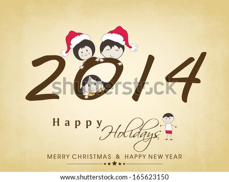 Happy New Year 2014 celebration poster, banner or flyer with stylish text and little kids on brown background.