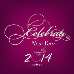 Happy New Year 2014 celebration poster, banner or flyer with stylish text on purple background.