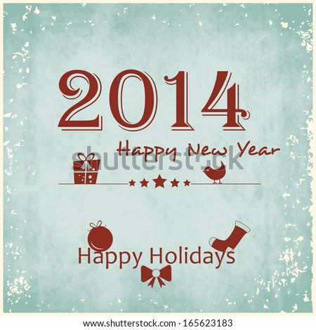 Happy New Year 2014 celebration poster, banner or flyer with stylish text on vintage green background.