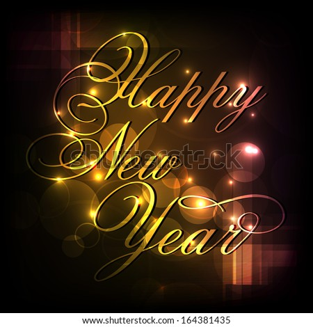 happy new year 2014 celebrations flyer banner poster or invitation with shiny golden text