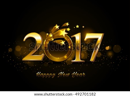 Happy New Year 2017 celebrations greeting card design with golden ring and star background. #492701182