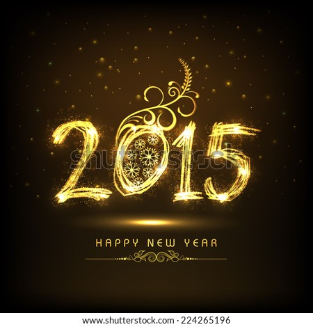 Happy New Year 2015 celebrations greeting card design with golden text and floral decorated brown background.