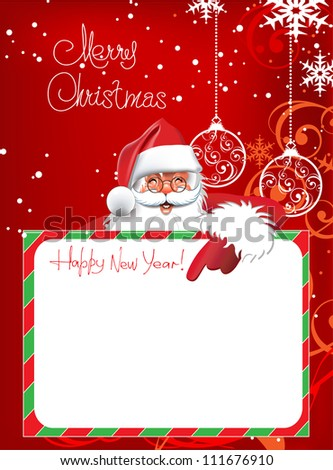 Happy new year. Christmas Card. Merry Santa Claus on a red background. Merry Christmas lettering for your design