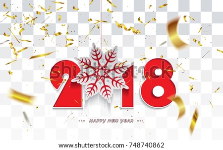 happy new year 2018 christmas card with golden transparent defocused confetti and snowflake isolated on