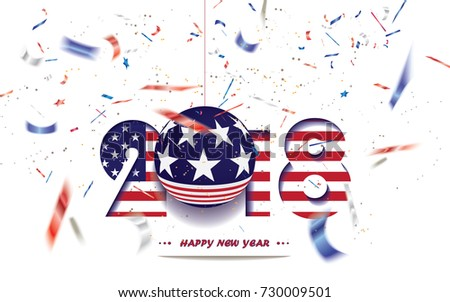 happy new year 2018 christmas card with usa flag and defocused confetti in the national