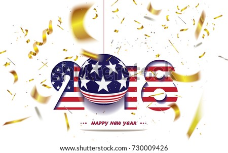 happy new year 2018 christmas card with usa flag and defocused confetti in the national colors of usavector illustration ez canvas