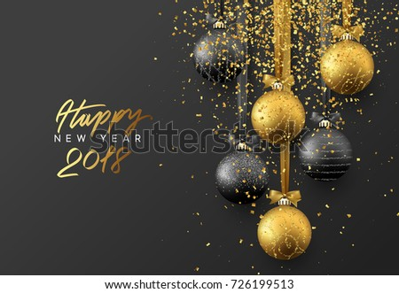 happy new year 2018 christmas greeting card design of xmas balls with golden glitter
