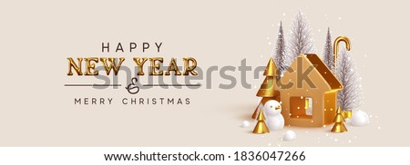 Happy New Year. Christmas trees lush and 3d golden conical fir, winter snow composition. Gold house. New Year Gold metal volumetric title text. Creative Horizontal banner, poster, header for website.