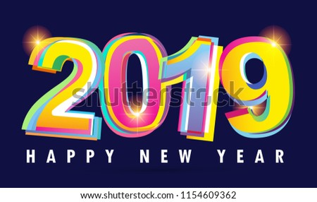 happy new 2019 year color banner