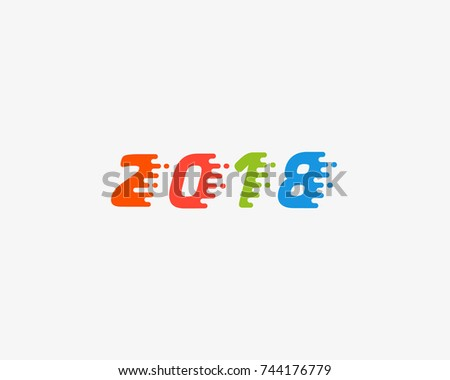 Happy new year 2018 color text design.  Dynamic vector unusual number. Speed moving greeting.