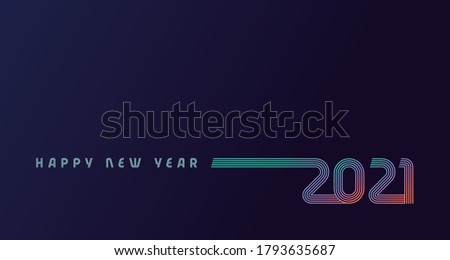 Happy New Year 2021 colored line design multicolored shining on dark blue background. Realistic vector digital numbers sign concept on violet, holiday cover, poster or banner design