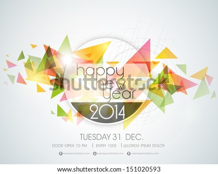 Happy New Year 2014 Colorful Celebration Party Poster, Banner Or Invitations.