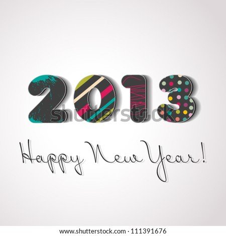 Happy new year 2013, colorful design - stock vector