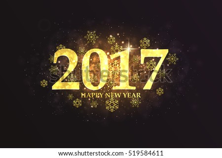 Happy New Year 2017 colorful greeting card made from golden numbers. Party poster, greeting card, banner or invitation. Vector #519584611