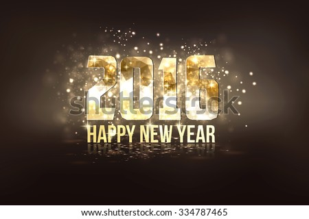 Happy New Year 2016 colorful greeting card made in polygonal origami style. Party poster, banner or invitation. Number formed by triangles. Vector