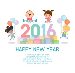 Happy new year 2016, Colorful Happy New Year 2016 kids background, happy child jumping with Happy new year 2016, Vector Illustration