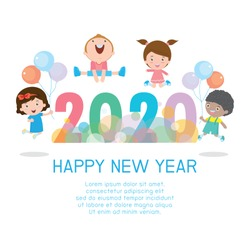 Happy new year 2020, Colorful Merry Christmas 2020 kids background, happy child jumping with Happy new year, Template for advertising brochure. poster Vector Illustration