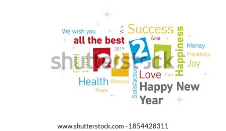 Happy New Year 2021 colorful negative space numbers word cloud text white isolated background vector