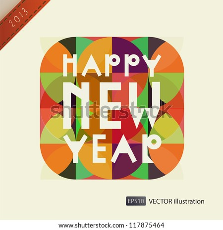 Happy New Year composition. Vector illustration. eps 10