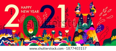 Happy New Year 2021 concept design. Happy Chinese New Year 2021 vector design. Symbol of 2021 Year the Bull. 2021 Happy New Year template. Vector illustration with colorful Bull in folk style.