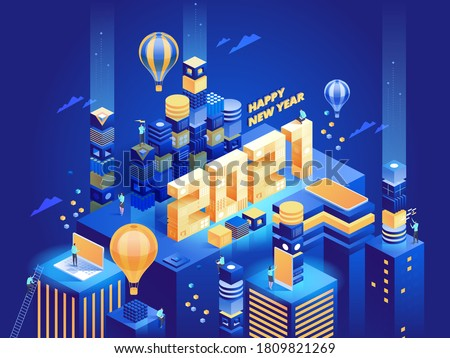 Happy New Year 2021 concept. Futuristic abstract modern business city in isometric view. People work remotely or in office, achieve success in their careers. Vector character illustration template