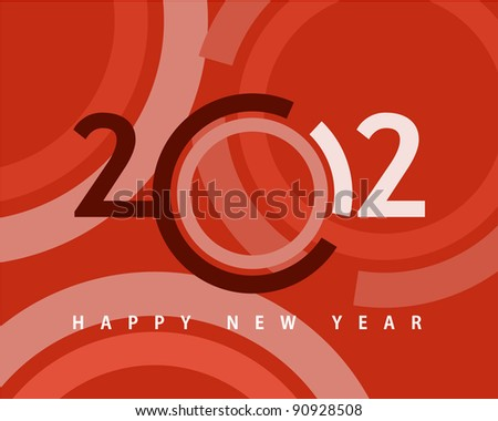 Happy new year 2012, conceptual 2012 year created from circles with colored background.