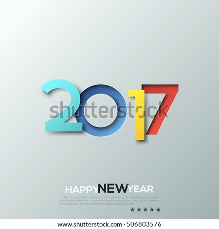 Happy new year 2017, congratulation, celebration banner, poster, website header, party invitation, greeting card. Multicolored paper design with shadows. Vector illustration in minimalist style.