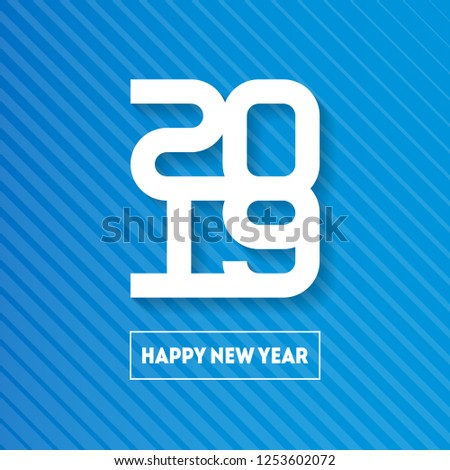 Happy New Year 2019. Cover of business diary for 20 19. Vector greeting card with halftone gradient. Vector brochure design template.