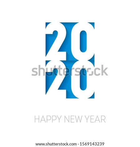 Happy New Year 2020. Cover of business diary for 20 20 with wishes. Brochure design template. Papercut art.