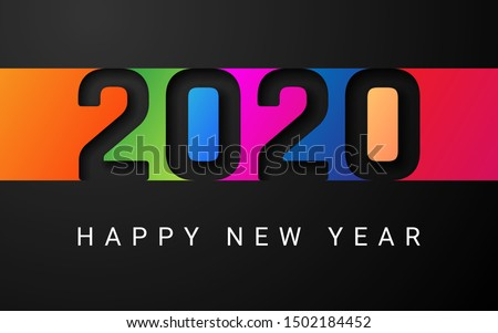 Happy New Year 2020 cover. Template of business design card, banner on dark bakground. Vector illustration.