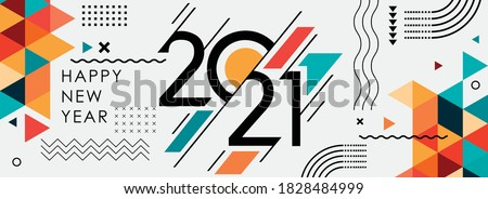 happy new year 2021 cover with modern geometric abstract background in retro style. happy new year greeting card banner design for 2021 calligraphy includes colorful shapes. Vector illustration