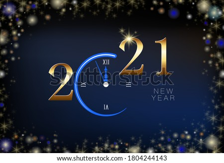 Happy New Year 2021. Creative design of five-minute clock numbers. Blue Christmas night background. Design for calendar. Poster, modern text, greeting card or print, template