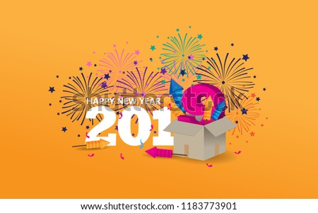 Happy New Year 2019 creative design with firework and colorful