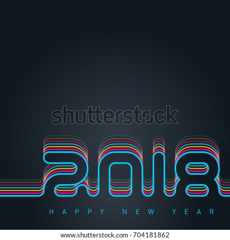 Happy new year 2018. Creative greeting card design template. Universal Vector background