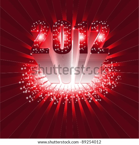 happy new year 2012  3d