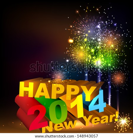 Happy New Year 3D message composition Salute- vector isolated on black background