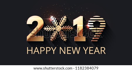 Happy New Year dark festive background. 2019 gold text design. Vector greeting illustration with golden numbers and snowflake