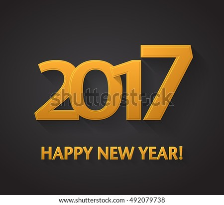 Happy New Year 2017. Decoration Text, Vector background #492079738