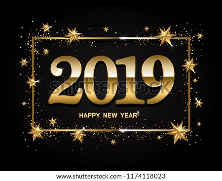 Happy new year design layout on black background with 2019 and gold stas. Vector illustration