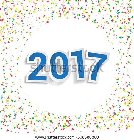 Happy New Year 2017 design with confetti background. Calendar template vector elements