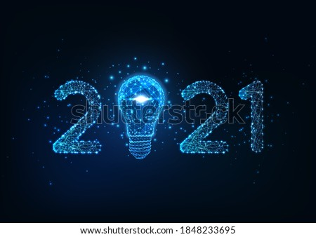 Happy New Year digital web banner template with futuristic glowing low polygonal 2021 number and light bulb on dark blue background.