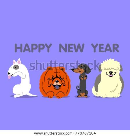 happy new year dog 2018 vector #778787104