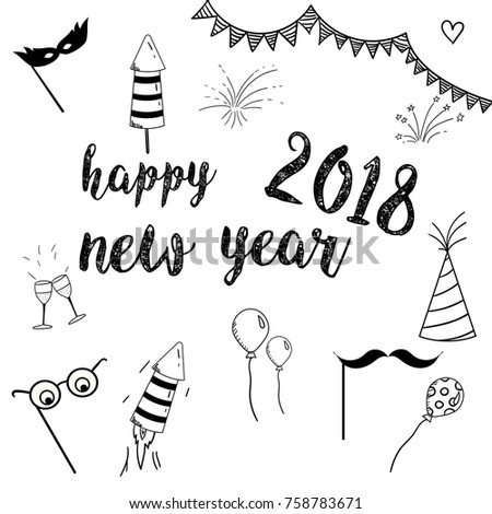 happy new year 2018 doodle